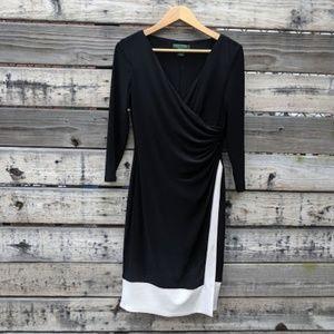 Lauren Ralph Lauren Faux Wrap Black/White Dress 6